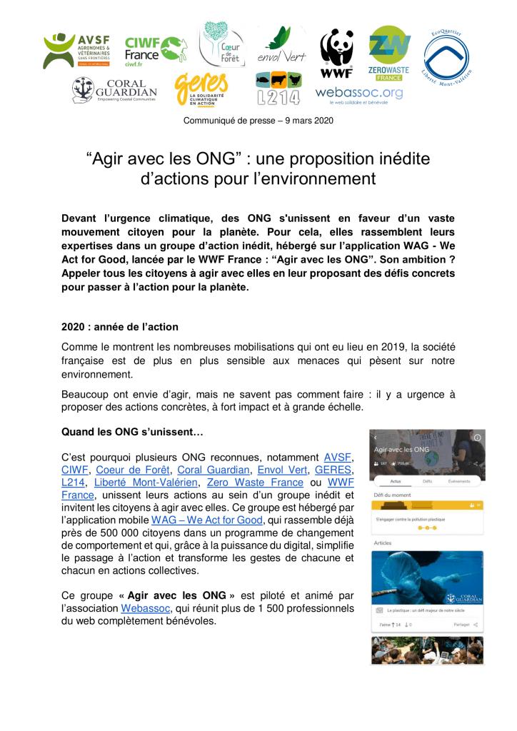 Communiqué de presse Agir avec les ONG - page 1